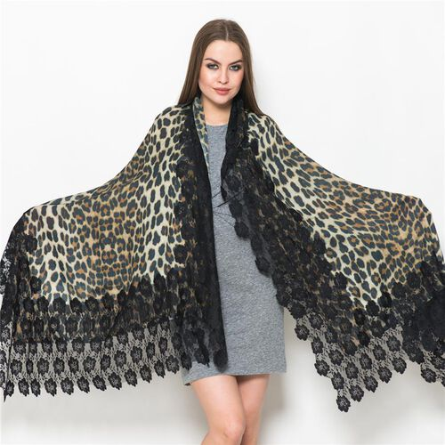 Italian Close Out-(50% Mulberry Silk and 50% Merino Wool) Multi Colour Leopard Pattern Black Colour Scarf with Nylon Floral Lace Border (Size 170x75 Cm)