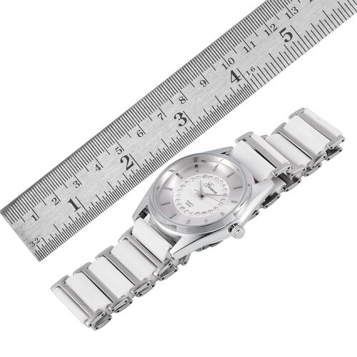 GENOA Japanese Movement White Austrian Crystal Studded Silver Dial Water Resistant Watch in Silver Tone with Stainless Steel Back and White Ceramic Strap