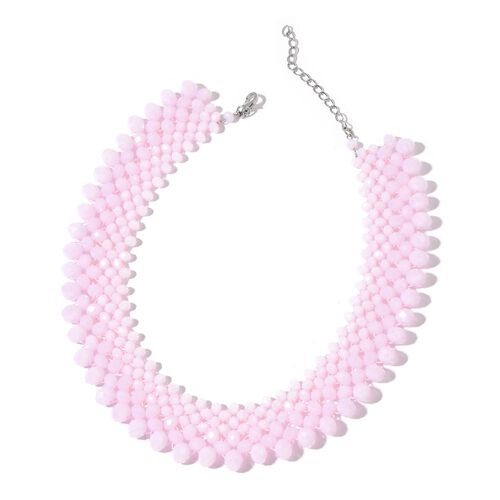 Designer Inspired - Pink Seed Beads Choker Necklace (Size 22) in Silver Tone