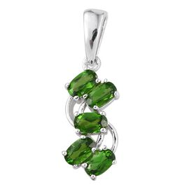 Russian Diopside (Ovl) 5 Stone Pendant in ION Plated Platinum Bond 1.500 Ct.