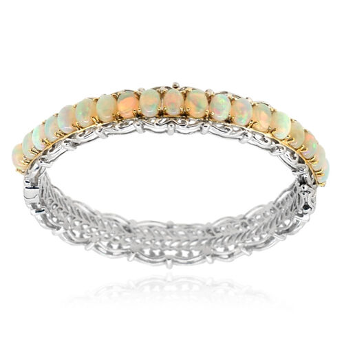 Ethiopian Welo Opal (Ovl) Bangle (Size 7.5) in Rhodium Plated Sterling Silver (30 Grms.) 10.00 Ct.