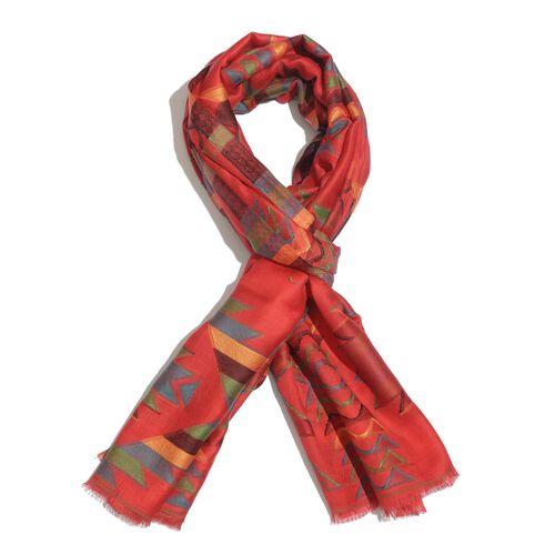100% Modal Multi Colour Chevron Pattern Red Colour Jacquard Scarf (Size 190x70 Cm)