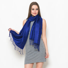 100% Superfine Silk Paisley Pattern Blue Colour Jacquard Jamawar Scarf with Fringes at the Bottom (Size 180x70 Cm) (Weight 125-140 Gms)