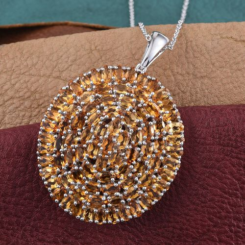 Citrine (Ovl) Cluster Pendant With Chain in Platinum Overlay Sterling Silver 18.750 Ct.