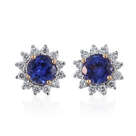 ILIANA 18K Yellow Gold 1 Carat AAA Tanzanite Round, Diamond SI G-H Stud Earrings with Screw Back.
