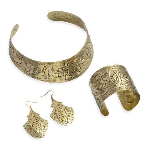 (Option 1) Jewels of India Embossed Choker, Hook Earrings and Cuff Bangle
