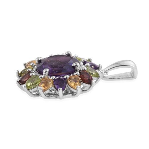 Amethyst (Rnd 3.25 Ct), Mozambique Garnet, Hebei Peridot and Citrine Sunflower Pendant in Platinum Overlay Sterling Silver 5.480 Ct.