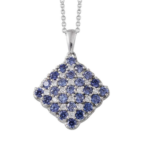 AAA Simulated Tanzanite (Rnd), Simulated Diamond Pendant with Chain in Silver Bond