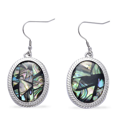Abalone Shell Bracelet (Size 7.50) and Hook Earrings in Silver Tone