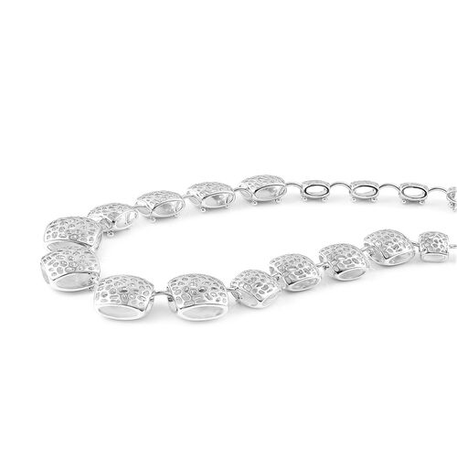 RACHEL GALLEY Rhodium Plated Sterling Silver Memento Diamond Necklace (Size 20), Silver wt 70.32 Gms.