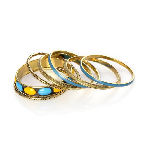 Jewels of India Handicraft 7 Pcs Bangle Set (Size 7.5) in Goldtone