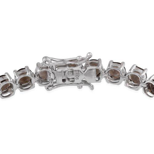Brazilian Smoky Quartz (Rnd) Bracelet (Size 7.5) in Platinum Overlay Sterling Silver 16.000 Ct.