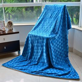 Superfine Microfibre Brushed Triangle Flannel Reverse Sherpa Blanket Blue (Size 130x200 Cm)