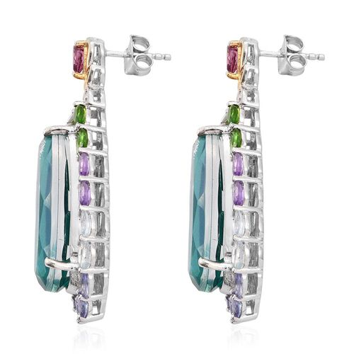 Exclusive Edition- Peacock Quartz, Rhodolite Garnet, Sky Blue Topaz, Russian Diopside, Tanzanite, Amethyst and Multi Gemstone Earrings ) in Platinum and Yellow Gold Overlay Sterling Silver 31.250 Ct.