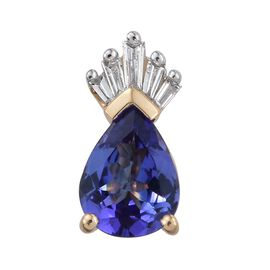 ILIANA 18K Yellow Gold 1.50 Carat AAA Tanzanite And Diamond (SI/G-H) Crown Pendant