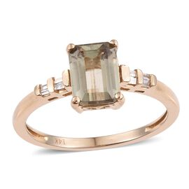 14K Y Gold Natural Turkizite (Oct 1.70 Ct), Diamond Ring 1.75 Ct.