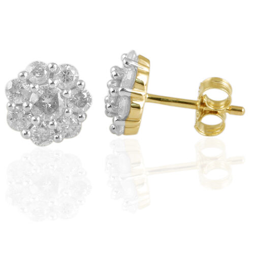 9K Yellow Gold SGL Certified Diamond (Rnd) (I3/ G-H) Flower Stud Earrings (with Push Back) 1.000 Ct.