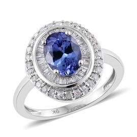 9K W Gold Tanzanite (Ovl 1.40 Ct), Diamond Ring 1.750 Ct.
