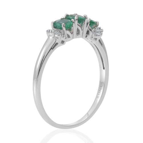 ILIANA 18K W Gold Kagem Zambian Emerald (Ovl), Diamond Ring 1.150 Ct.
