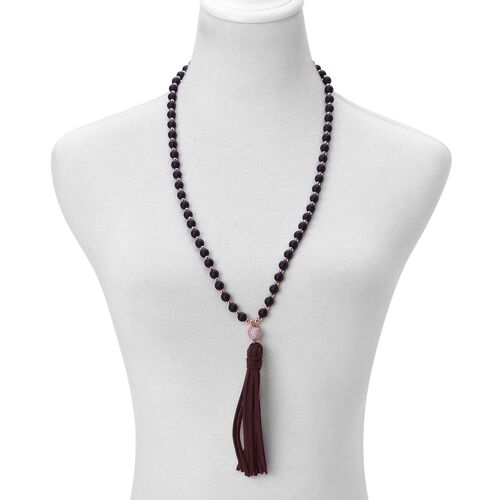 Simulated Black Spinel and Simulated White Diamond Tassel Necklace (Size 30 to 40) in Rose Gold Tone