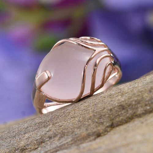 Rose Quartz (Ovl) Ring in Rose Gold Overlay Sterling Silver 12.000 Ct.