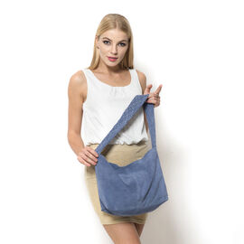 Genuine Leather Indigo Blue Colour Handbag with Thick Braided Shoulder Strap (Size 42x27 Cm)