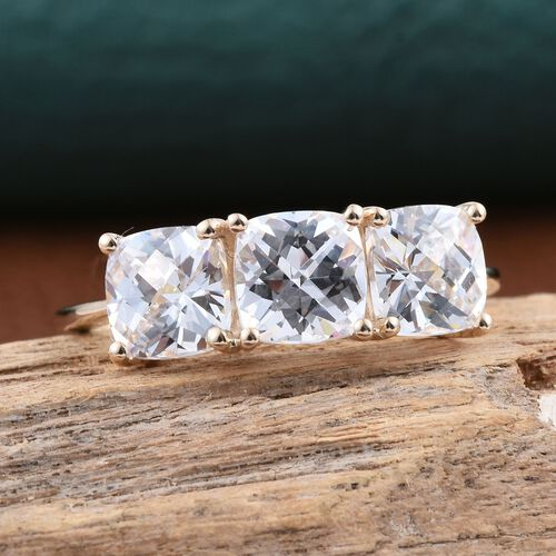 Checkerboard Cut 9K Y Gold (Cush) Trilogy Ring Made with SWAROVSKI ZIRCONIA