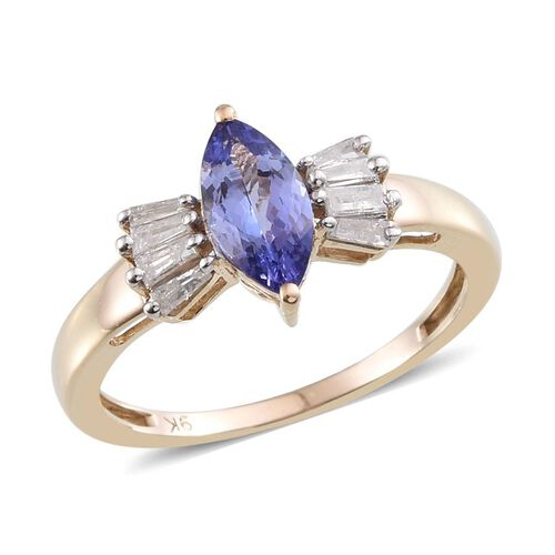 9K Y Gold Tanzanite (Mrq 1.00 Ct), Diamond Ring 1.250 Ct.