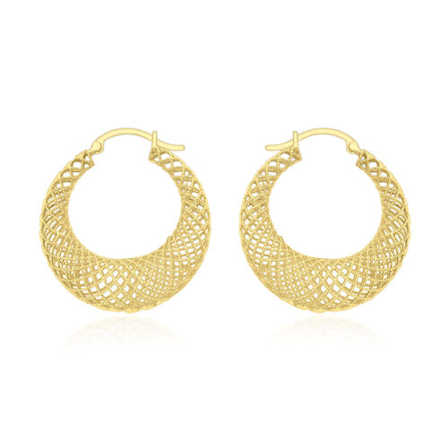 Close Out Deal 9K Yellow Gold Wavy Creole Hoop Earrings (with Clasp) Gold wt. 2.40gms