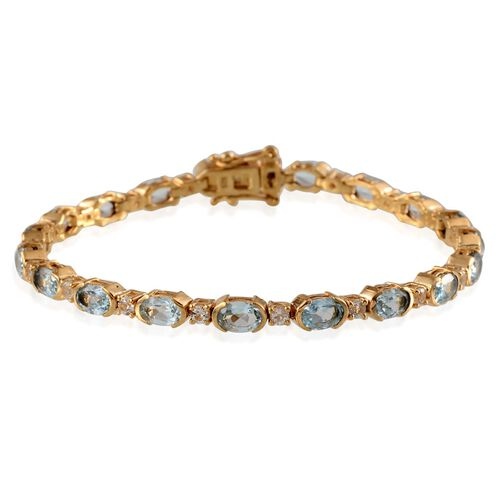 Sky Blue Topaz (Ovl) Bracelet (Size 7.5) in Yellow Gold Overlay Sterling Silver 10.500 Ct.