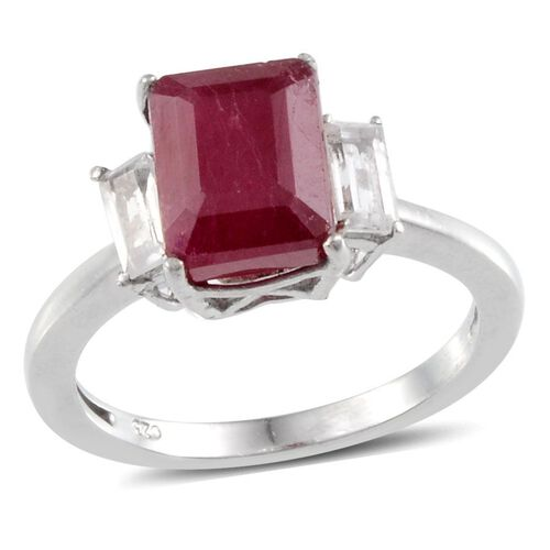 African Ruby (Oct 3.50 Ct), White Topaz Ring in Platinum Overlay Sterling Silver 4.000 Ct.