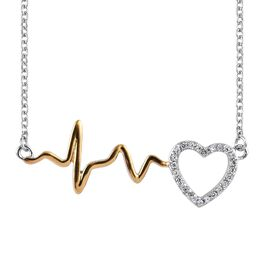 J Francis - Platinum and Yellow Gold Overlay Sterling Silver (Rnd) Pulsing Heart Necklace (Size 18) Made with SWAROVSKI ZIRCONIA