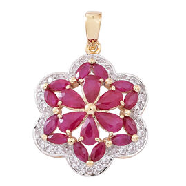 Designer Inspired - 9K Y Gold AAA Burmese Ruby (Pear), Natural Cambodian Zircon Tora Rose Pendant 5.000 Ct.