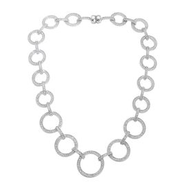 AAA White Austrian Crystal Circle Link Necklace (Size 20) in Silver Tone
