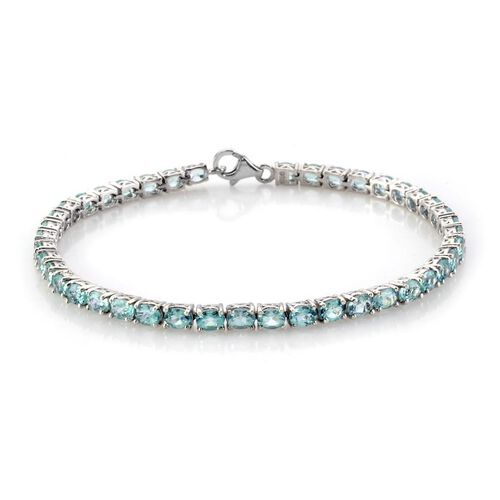 Paraibe Apatite Platinum Overlay Sterling Silver Bracelet (Size 7.5)  7.42 Ct.