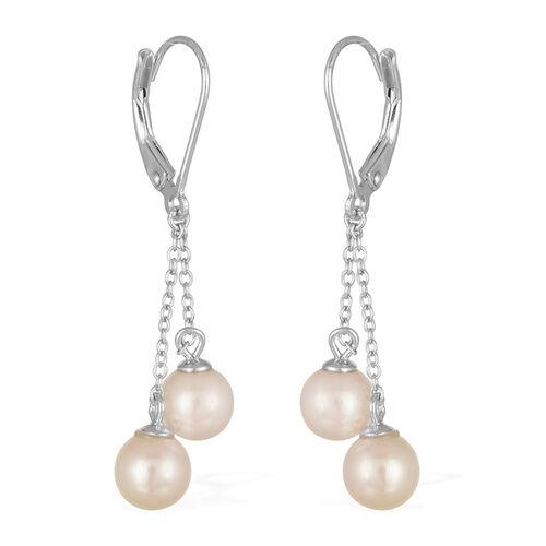 Japanese Akoya Pearl (Rnd) Lever Back Earrings in Platinum Overlay Sterling Silver