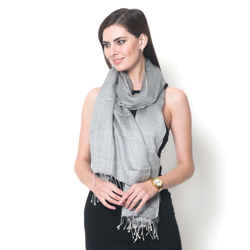 Mulberry Silk, Merino Wool Blend (50%) Handloom  Dark Grey and Silver Colour Reversible Motif Scarf (Size 190x70 Cm)