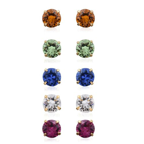 Set of 5 - Summer Collection Crystal from Swarovski - Fuchsia, Peridot, Citrine, Sapphire and White Colour Crystal Stud Earrings (with Push Back) in 14K Gold Overlay Sterling Silver