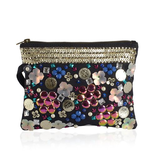 NEW SEASON Sequins Studded Floral Pattern Black Colour Clutch (Size 16x21 Cm)
