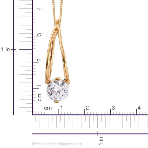 J Francis - 14K Gold Overlay Sterling Silver (Rnd) Solitaire Pendant With Chain (Size 18) and Earrings (with Clasp) Made with SWAROVSKI ZIRCONIA