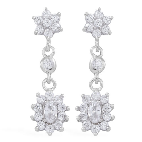 ELANZA AAA Simulated Diamond (Ovl) Earrings (with Push Back) in Rhodium Plated Sterling Silver