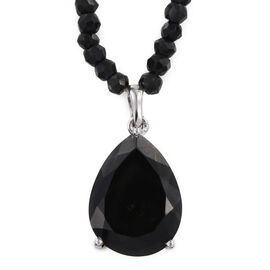 Australian Black Tourmaline (Pear 15.50 Ct), Boi Ploi Black Spinel Pendant With Chain in Platinum Overlay Sterling Silver 66.500 Ct.