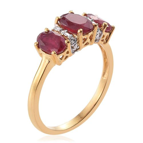 African Ruby (1.90 Ct) 14K Gold Overlay Sterling Silver Ring  2.500  Ct.