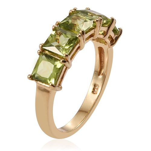 Hebei Peridot (Sqr) 5 Stone Ring in 14K Gold Overlay Sterling Silver 3.500 Ct.
