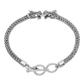 Royal Bali Collection Sterling Silver Tulang Naga Dragon Head Bracelet (Size 7.5 to 8 Inch), Silver wt 21.83 Gms.