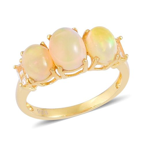 Ethiopian Welo Opal (Ovl 1.00 Ct), White Topaz Ring in Yellow Gold Overlay Sterling Silver 2.300 Ct.