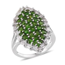 Russian Diopside (Rnd), White Topaz Cluster Ring in Platinum Overlay Sterling Silver 4.250 Ct.