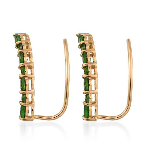 Russian Diopside (Pear) Climber Earrings in 14K Gold Overlay Sterling Silver 2.500 Ct.