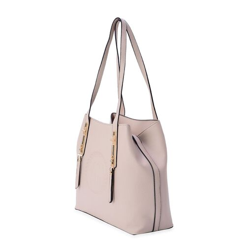 YUAN COLLECTION Cream Tote Bag with External Zipper Pocket (Size 32.5x28x14 Cm)