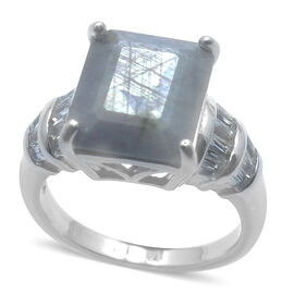 Natural Silver Sapphire (Oct 7.45 Ct), White Topaz Ring in Rhodium Plated Sterling Silver 8.250 Ct.
